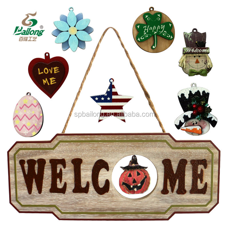 Wood crafts all holiday in one halloween Christmas interchangeable front door welcome signs vintage wooden sign