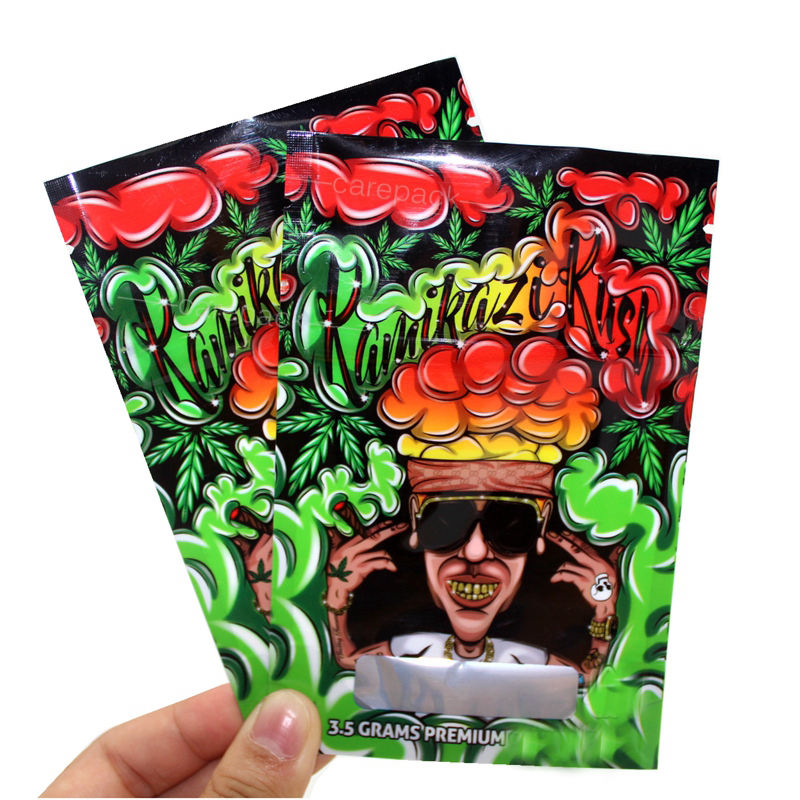 High Quality Printed Glossy Zipper Top Mylar Plastic Packaging Bags Weed