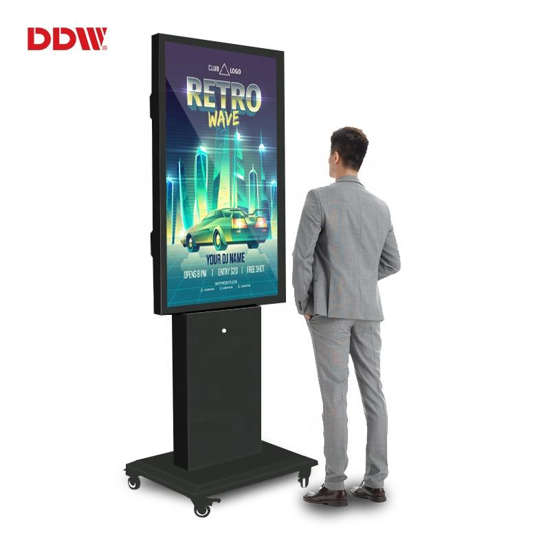 "65"" 4k outdoor thin bezel 3000cd/m2 waterproof triple display kiosk portable led lcd outdoor digital signage"