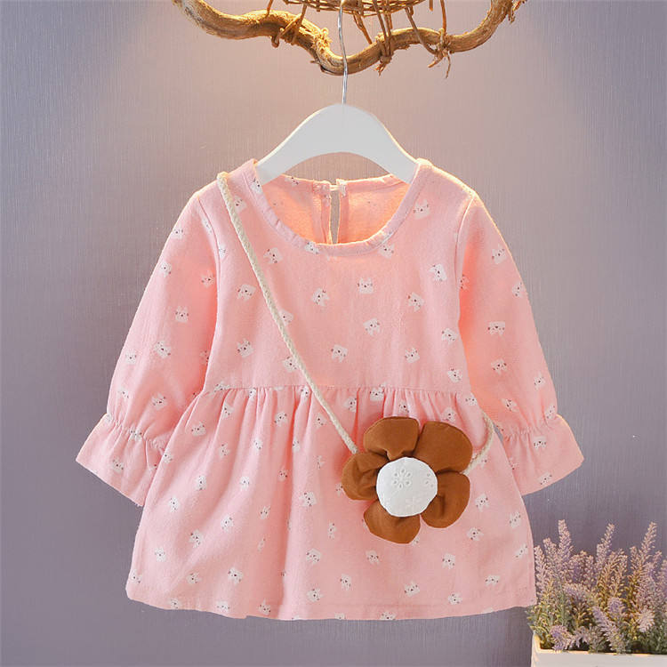 Baby Girl Fall Dresses Colorful Floral Autumn Dress Full Sleeve Toddler Clothing Cute Princess Dress Child for 0-4 Yrs Wholesale