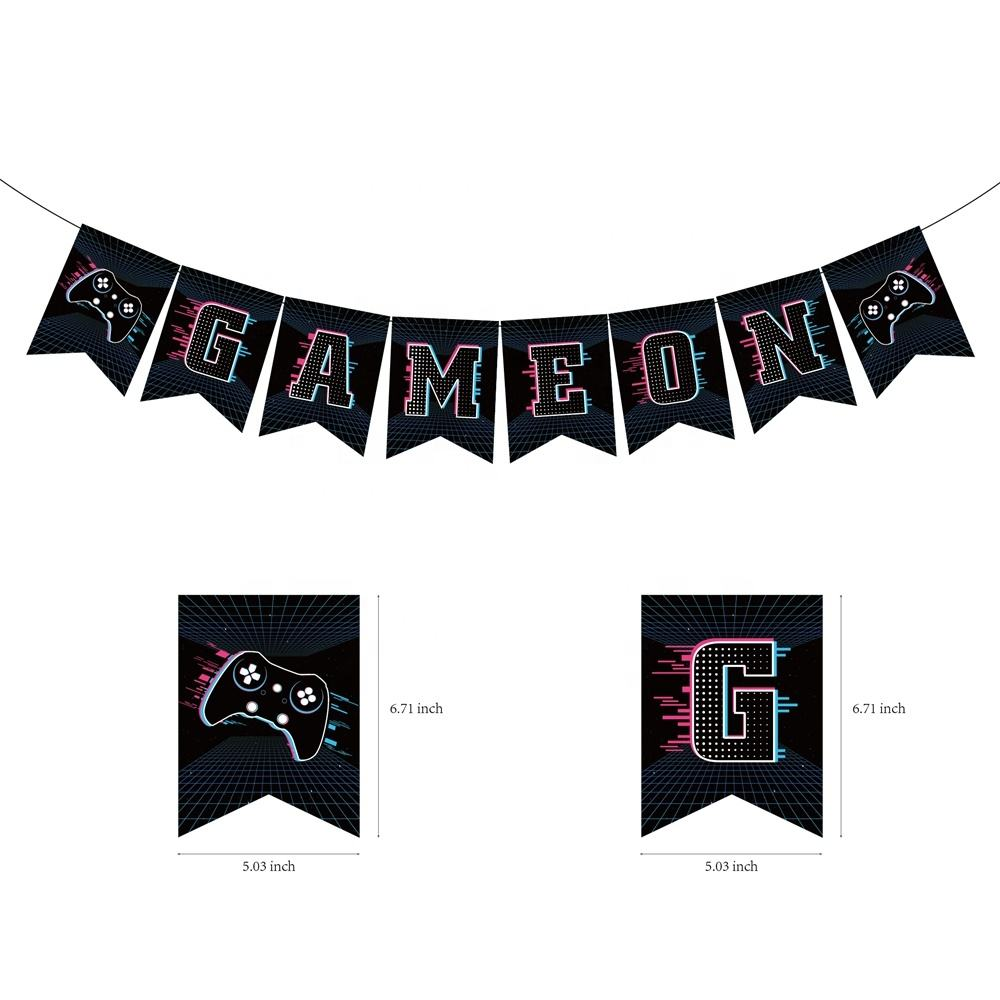 BA152 8Pcs Game Op Party Brief Banner Game thema Party Banner decoratie voor kinderen verjaardagsfeestje supplies