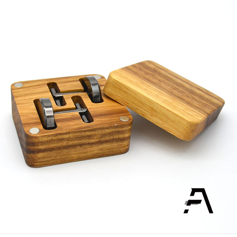 Custom wooden cufflink storage box case