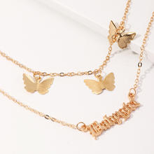 Wholesale fashion custom babygirl letter choker jewelry multi-layer gold butterfly necklace