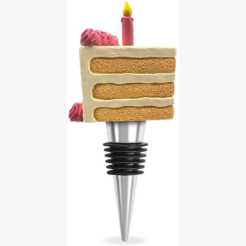 Cake Slice Pink Candle Tapered Resin Stone and Zinc Wine Bottle Stopper