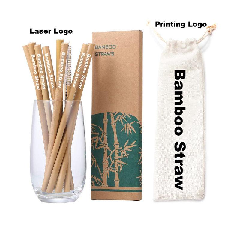 Logo Customized Reusable Drinking Organic Natural Bamboo Straw
