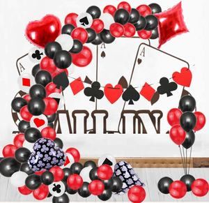 95 pcs set Poker Banner Rot Schwarz und Weiß Latex ballons 4 Casino Mylar Luftballons garland Las Vegas Thema Party dekorationen