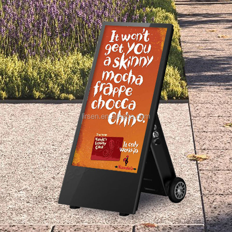 "43 ""Outdoor Digital Advertising Screens Battery Powered 4 18k Aluminum Digital Signage Touchscreen Totem Movable Kiosk Display"