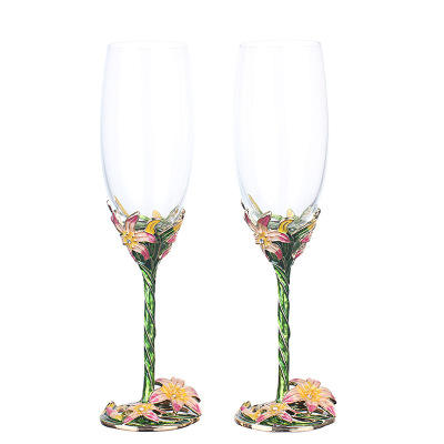 China Enamel Color Wine Glass Goblet Grape Crystal Set Europe Style Stainless Steel Great Capacity Champagne Home Drinking Ware