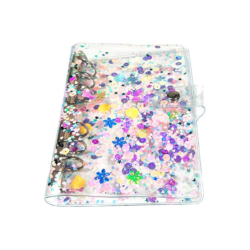 Most popular A5 A6 PVC 6 rings binder Glitter Quicksand spiral notebook cover loose-leaf with snap botton for school stationery