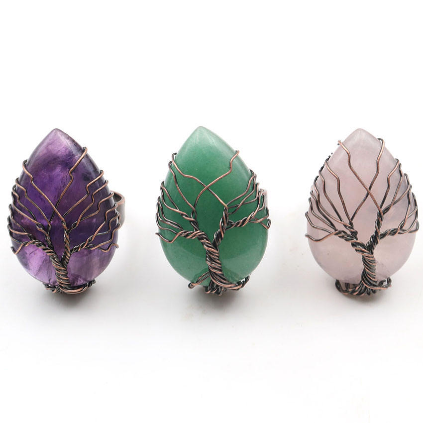Natural Stone Crystal Life Tree Water Drop Adjustable Ring Accessories Vintage Reiki Charms Jewelry