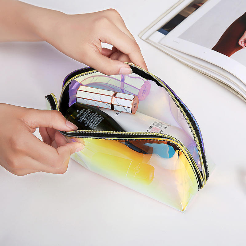Custom Personalized Waterproof Glitter Cosmetic Brush Zipper Pouch Holographic Pvc Makeup Bag