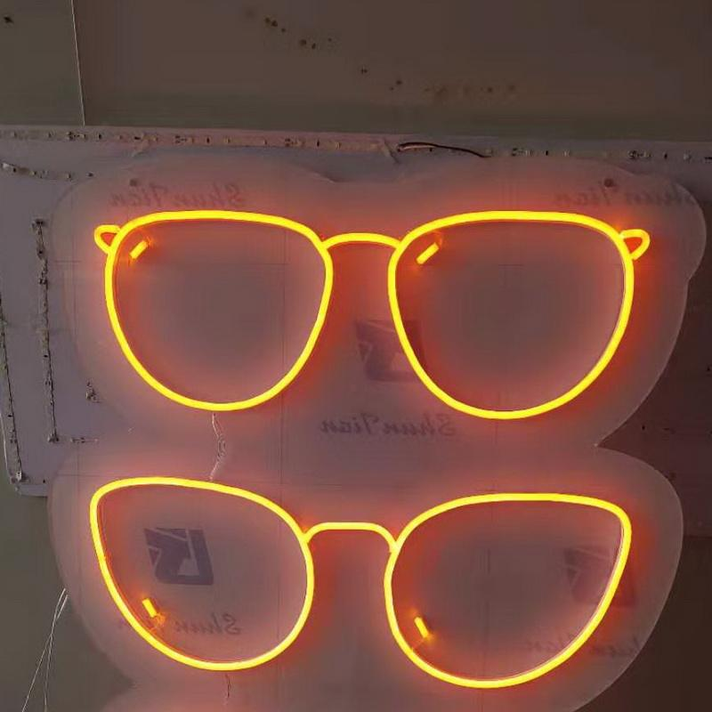 Shop front acrylic neon logo glasses store light optical signboard led flex custom neon sign