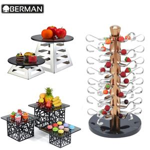 Hotel restaurant furniture supply warehouse beautiful buffet food displays stand,afternoon tea stands