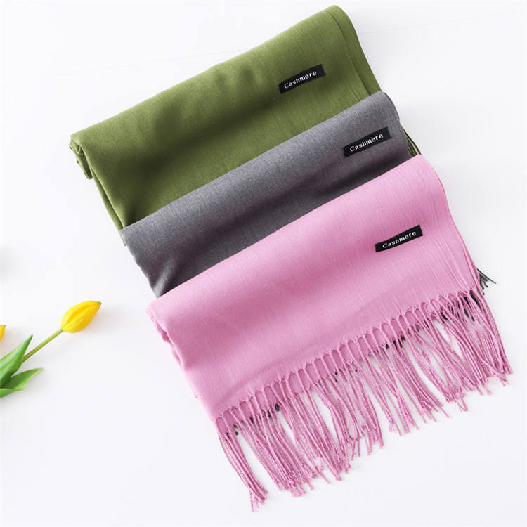 Wholesale Plain Pashmina Shawl Cashmere Scarf With Tassel