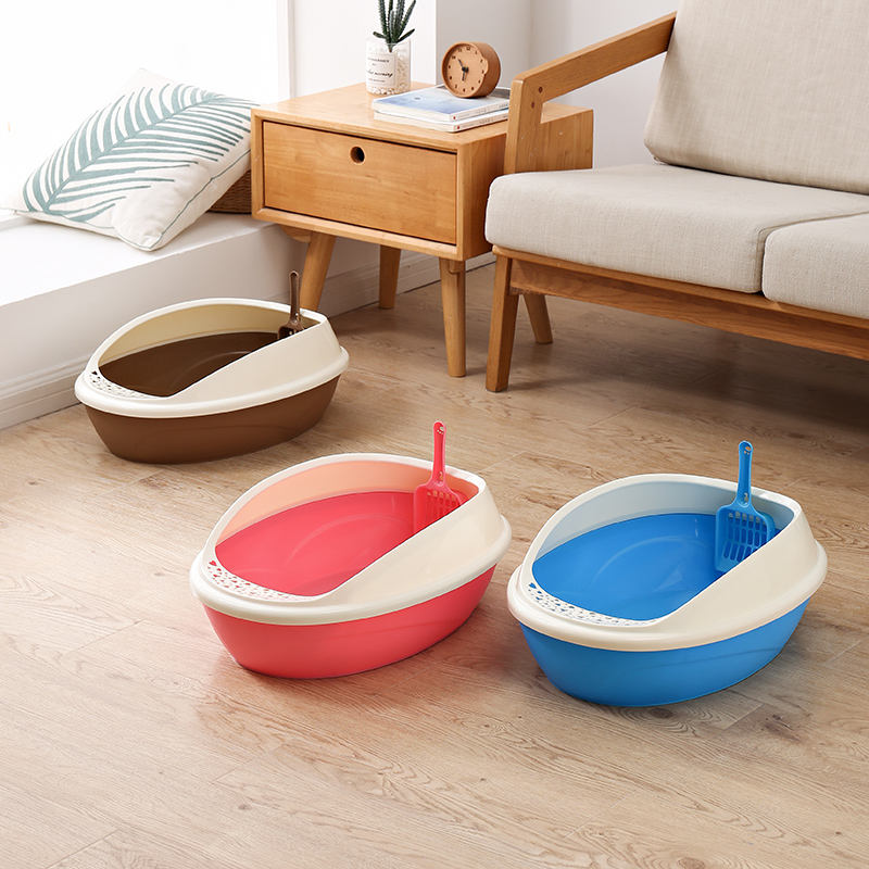 Eco Friendly Dark Brown Red Blue Plastic Pp Cat Litter Box Toilet House