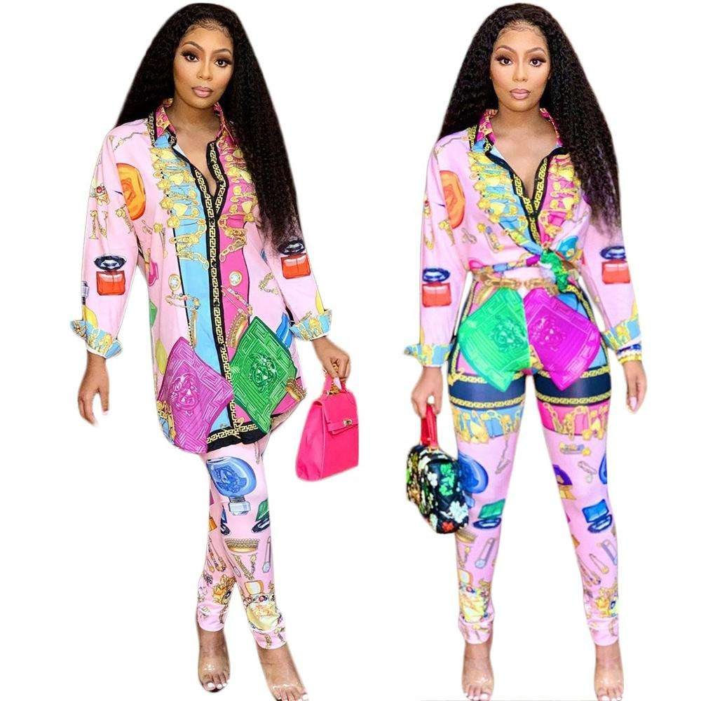 OF15-1974 Wholesale Women's Clothing Shirt Mixed Printing Button Pant Sets
