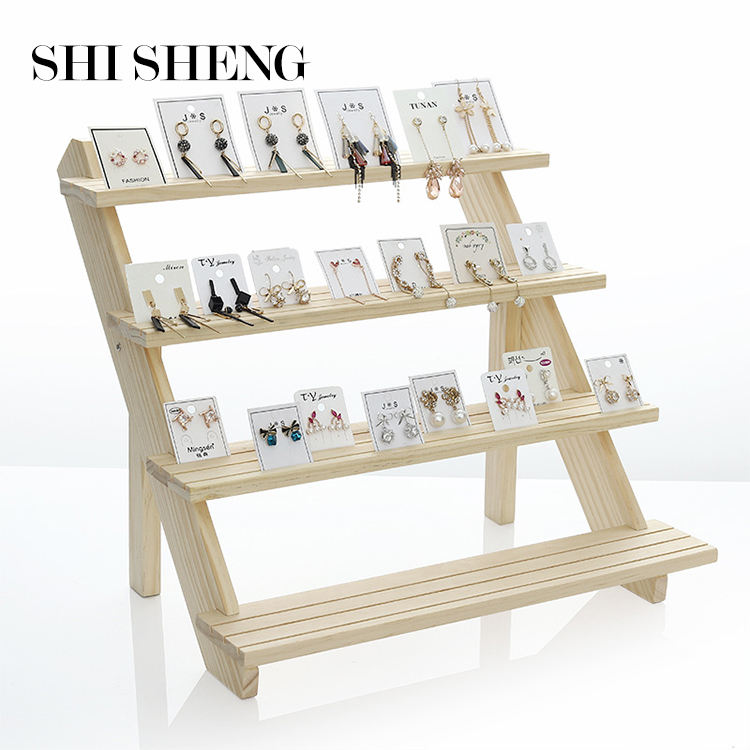 SHI SHENG Fashion Multi-Layer Wood Jewelry Display Necklace Charms Pendant Earrings Card Tray Style Detachable Display Holder