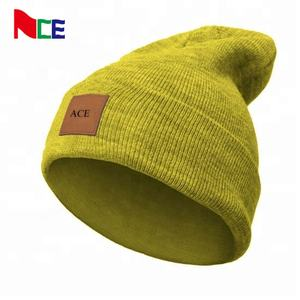 ACE eco-friendly beanie with leather patch custom patch logo winter beanie