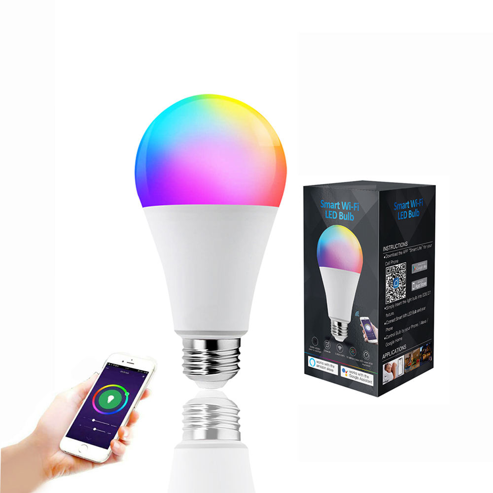 Amazon Venta caliente WiFi inteligente bombilla LED 9W RGBW/WW Compatible con Alexa y asistente de Google OEM disponible