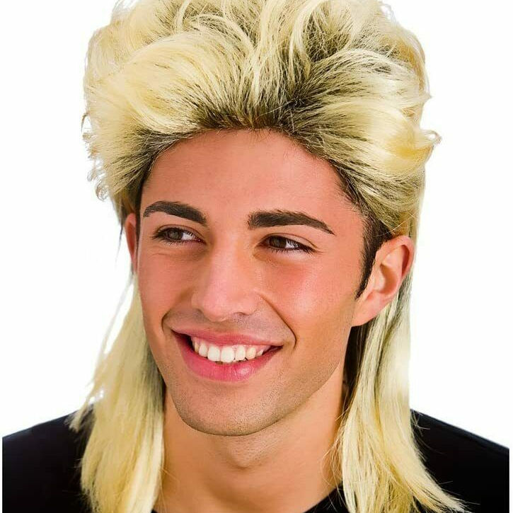 MENS 80S ROD STEWART GLAM ROCK STAR ROCKER FANCY DRESS COSTUME BLONDE MULLET WIG