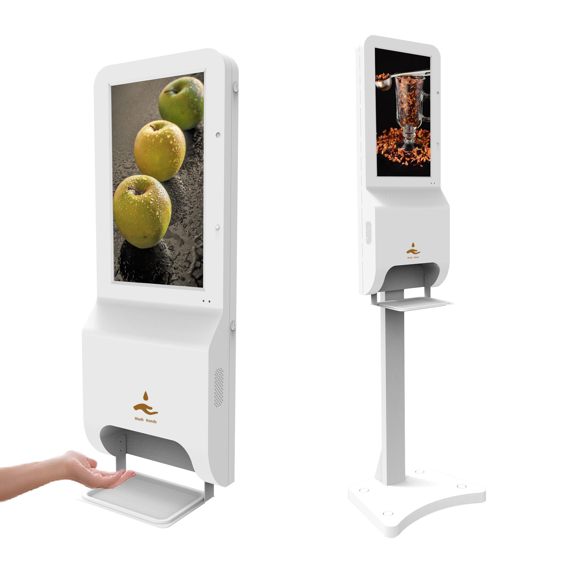 Commercio all'ingrosso pubblico portatile parete automatico di alcol disinfettante per le mani dispenser di sapone 1000ml a cristalli liquidi di pubblicità chiosco