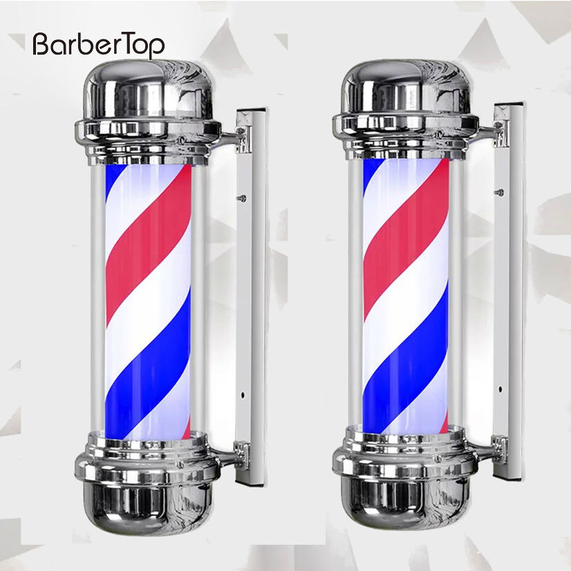 LED Barber Shop Sign Pole Light Red White Blue Stripe Design Salon Wall Hanging Light Lamp Beauty Salon Lamp
