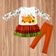Hot sale Girls long sleeve Matching Ruffle Girl Outfit Cotton kids clothes pumpkin printed Halloween sets