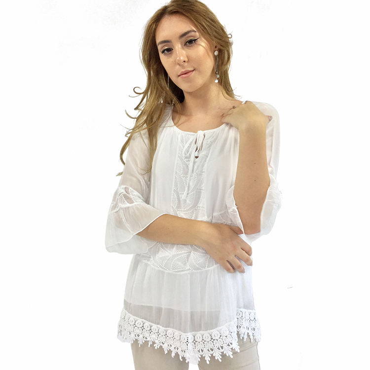 2019 Italy Normal Season Casual Style Women Embroidered Tops And Blouses For Sale