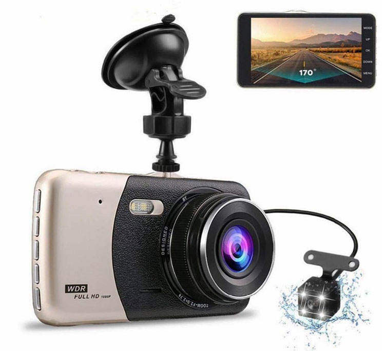 2020 4 Inch Ips Voertuig Auto Black Box Voor & Achter Dual Lens Auto Camera <span class=keywords><strong>Dvr</strong></span> Parking Monitor Full Hd 1080P Auto Dash Cam G-Sensor