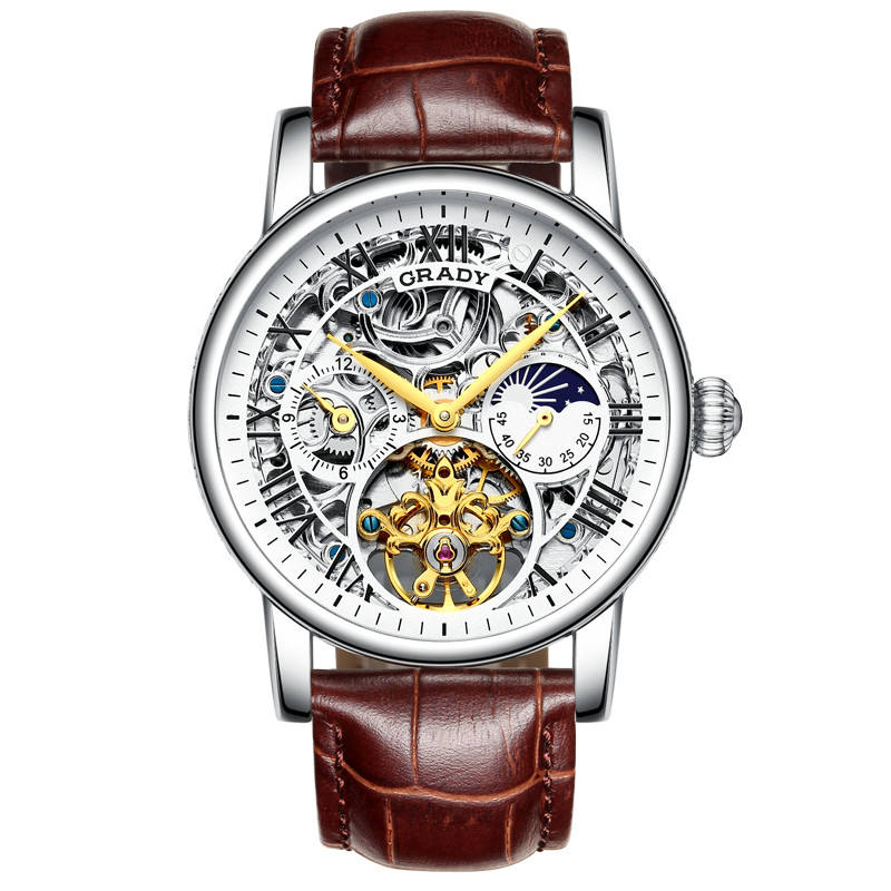 Factory OEM Brand Logo Skeleton Tourbillon Automatic Mechanical Watch Genuine Leather Men Watches