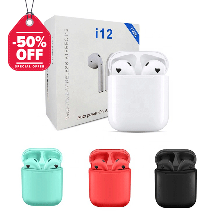 On Sale 50% Off I12Tws Original Mini Audifonos Bluetooth 5.0 Wireless Earpoding I12 Tws Earphone Earbuds
