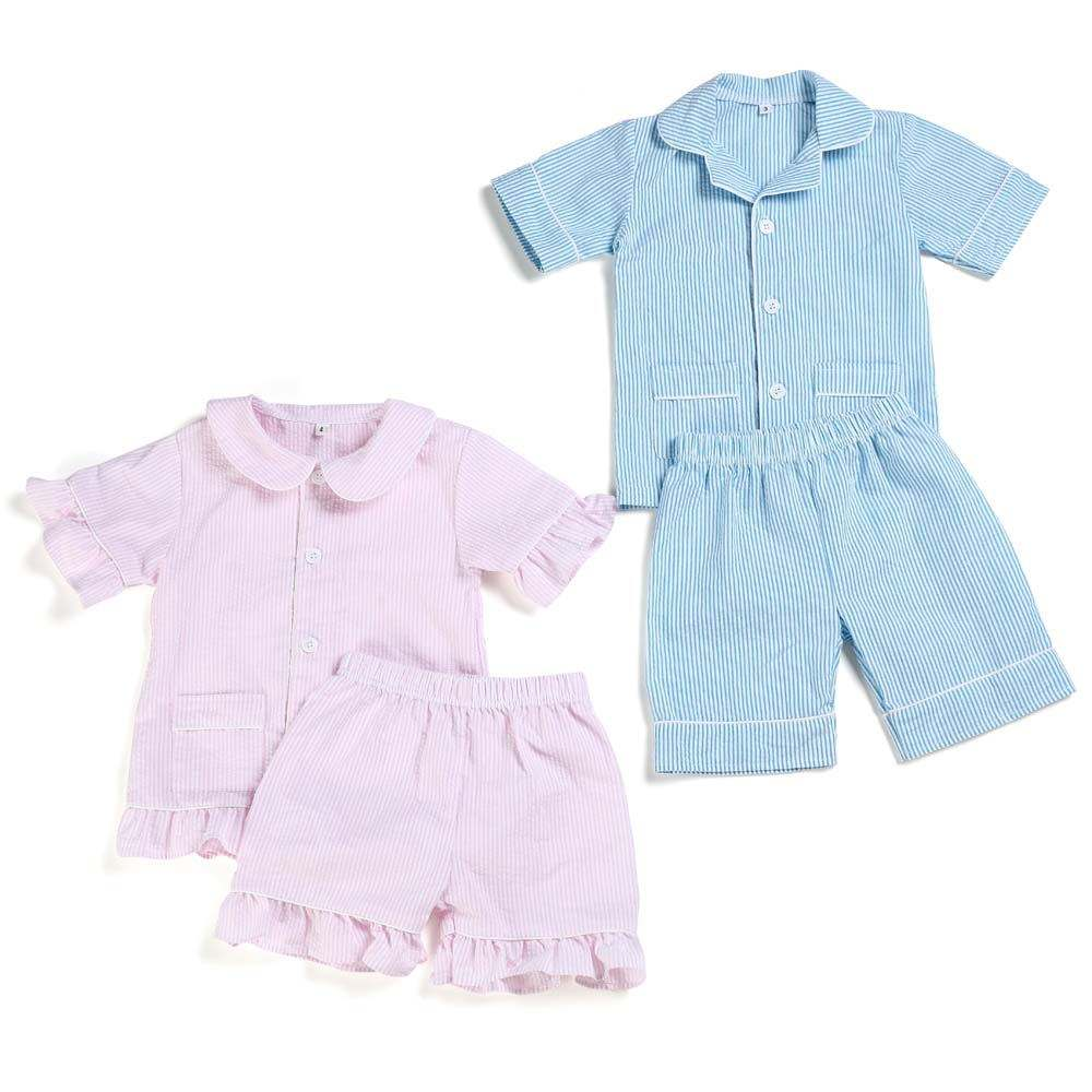 Stock RTS cotton seersucker kids pajamas boys and girls boutique clothing family ruffle pyjamas baby clothes sets