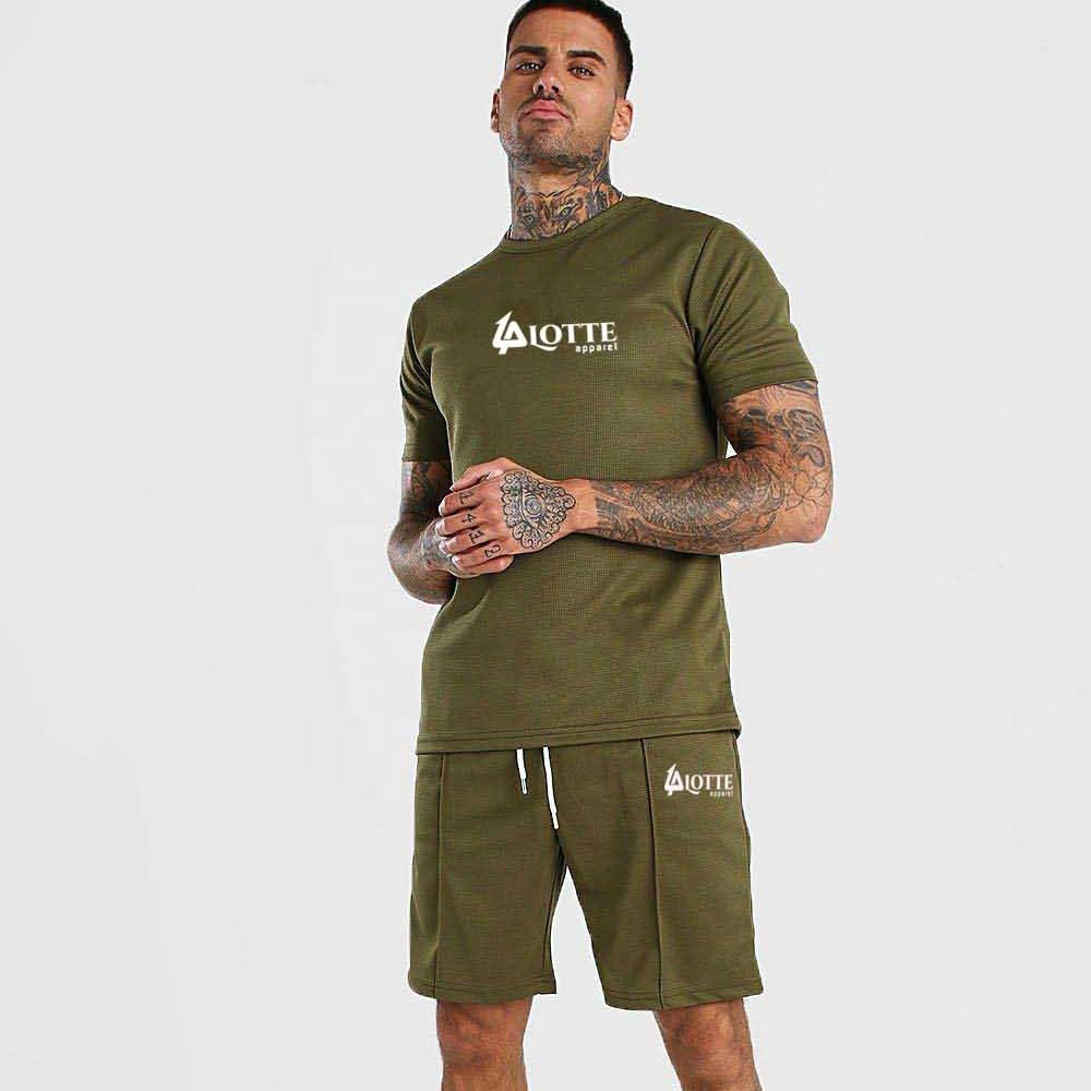 Tracksuit Hot Sales Casual Short Sleeve O neck sweat suit Fashion Men 2piece Set Manufactured by Lotte Apparel