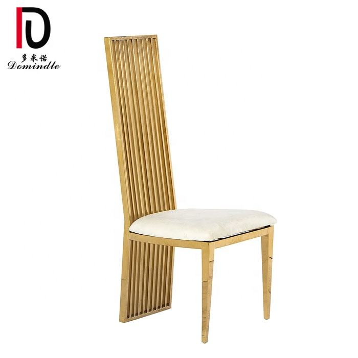 banquet luxury gold stainless steel frame wedding dining chair with PU