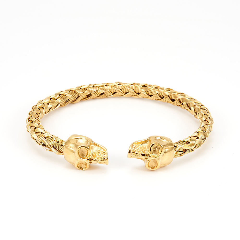 BAIQUE stainless steel custom design jewelry skull shape braided pattern 18k gold plated bracelets bangles