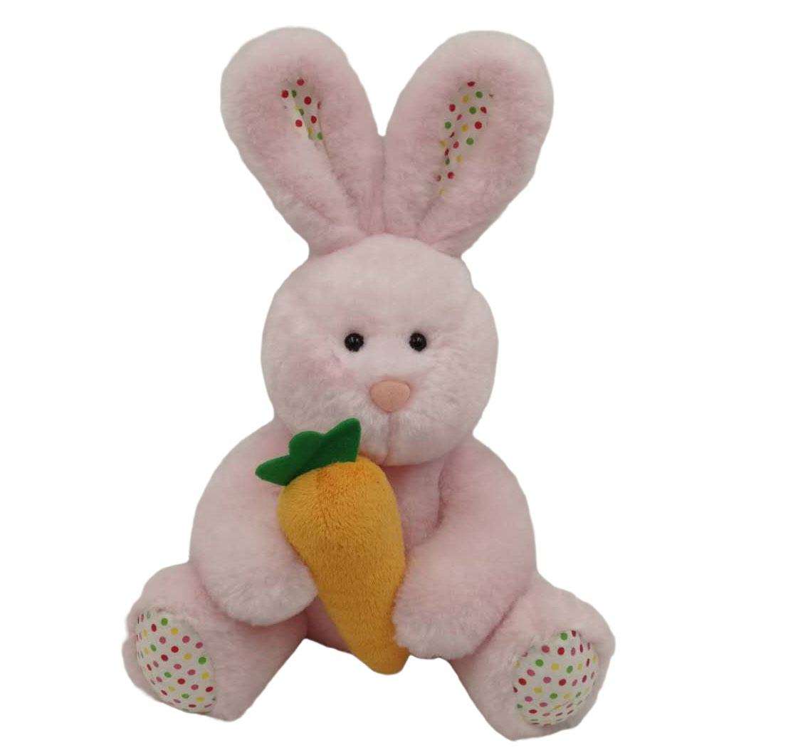 "Factory direct custom fashion soft stuffed plush toy 8.5"" Bunny w/ carrot for Kids"