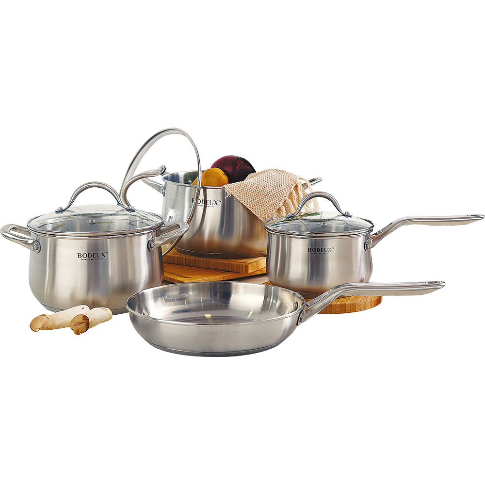 BODEUX 7pcs Cooking pots 3-layer stainless steel removeable handle cookware set with flat stainless steel lid