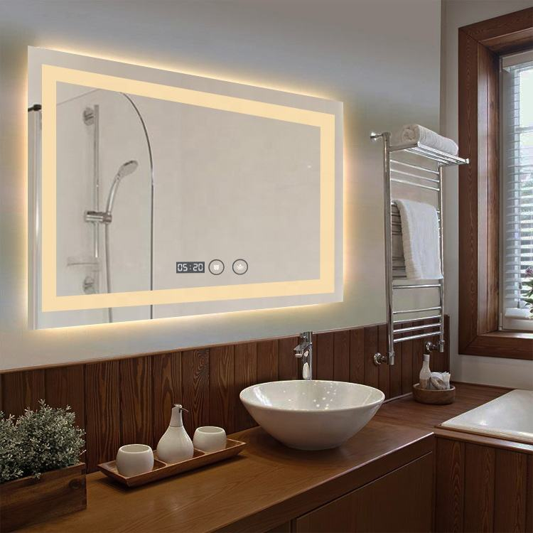 Home Decor Smart LED lighted time display wall mirrors glass