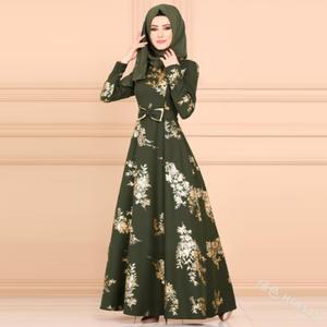 Printing grace temperament big high waist bow dress muslim women kaften