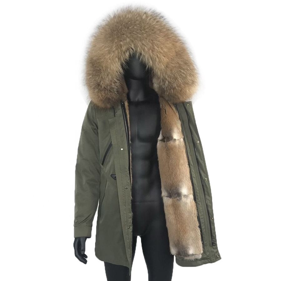 High Quality Business Casual Jacket Men Parka 100% Natural Rabbit Fur Lined Coat Windproof Outwear