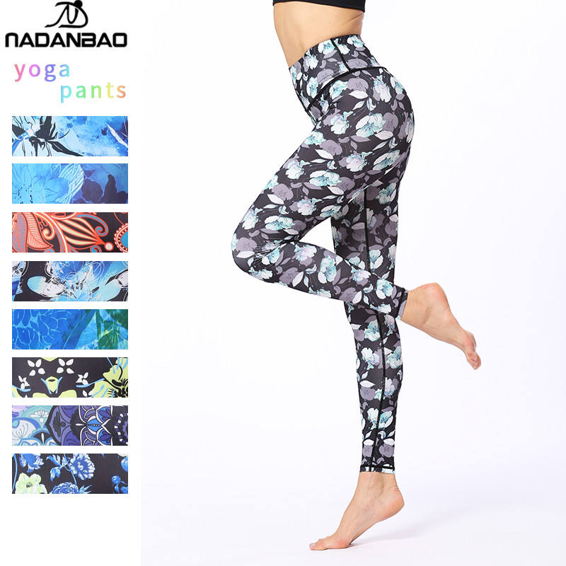 NADANBAO 2019 active wear printed colorful fitness yoga leggings womens high quality cool gym tights yoga leggings