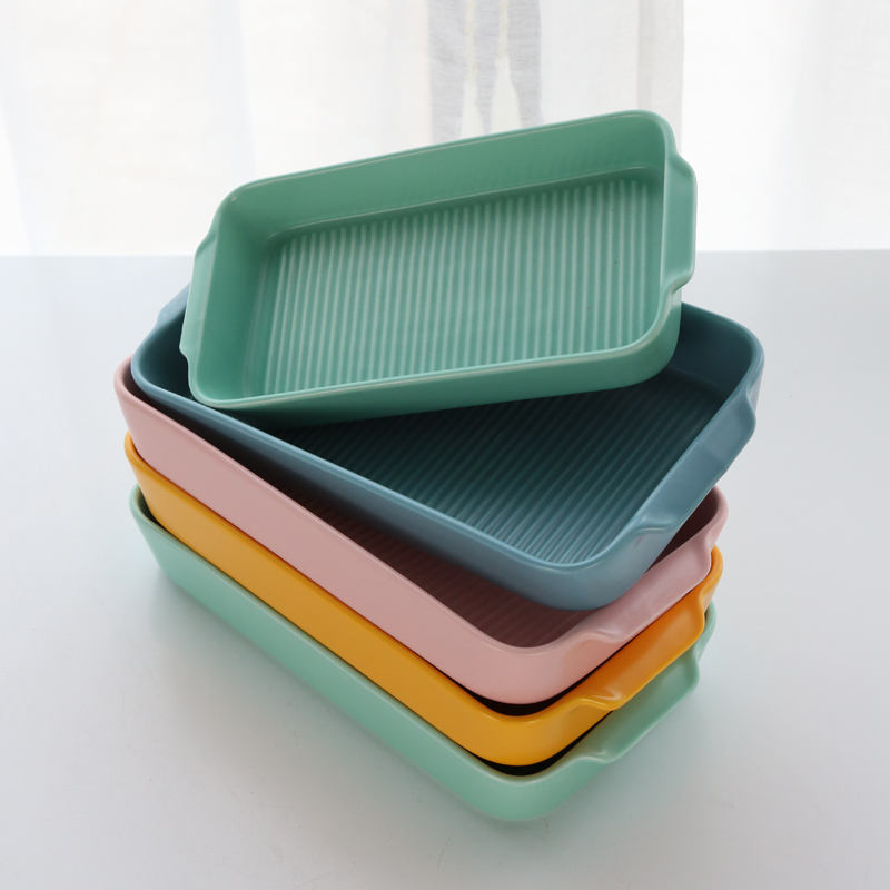 BK13 Hot Sale Ceramic Colorful Bakeware Sets Rectangular Plate Ceramic Baking Pan