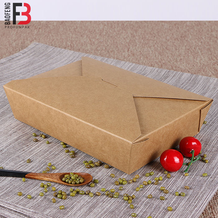 Disposable Take Away Kraft Paper Lunch Box Paper food Container 300pcs per Carton