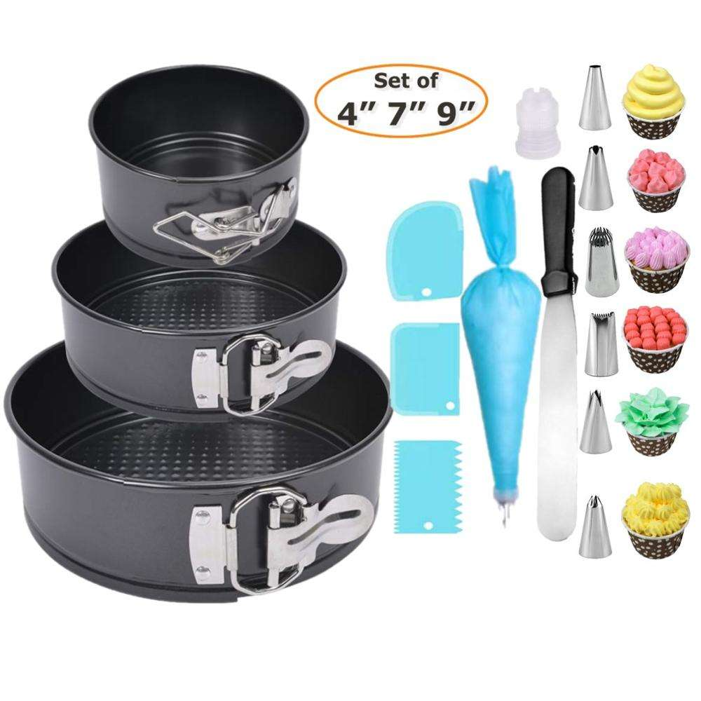 Nonstick Springform Pan Set,Leakproof Round Cheesecake Pans,Advanced Spraying 4-7-9.5 Inch Amazon Wal-Mart hot style