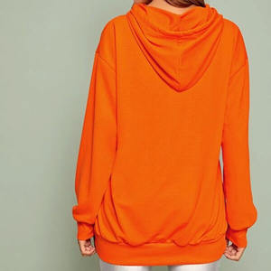 Spring Fashion Casual Woman Oversized Neon Orange Figure   Letter Graphic Hoodie