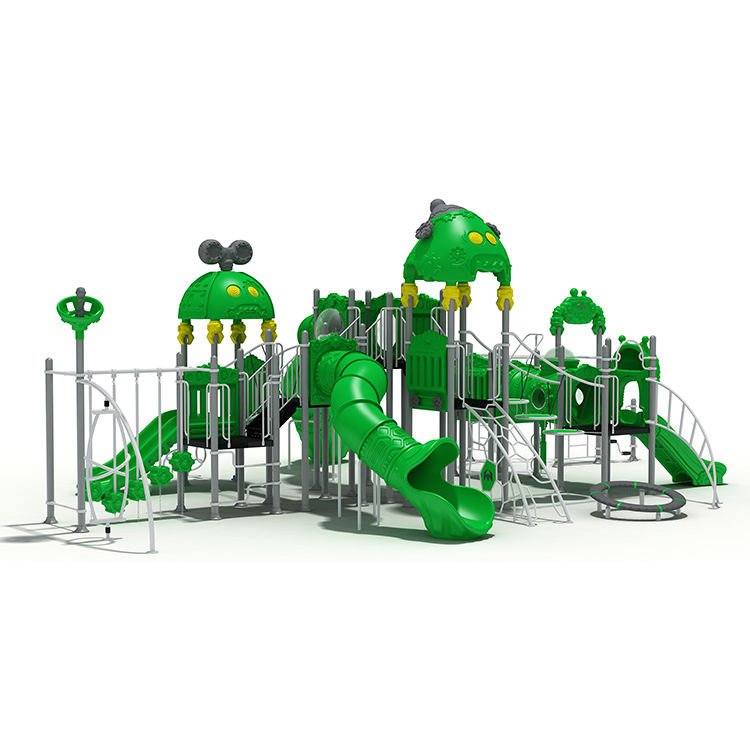 Kindergarten daycare school backyard outdoor playground equipment, play area children game equipment with plastic slide