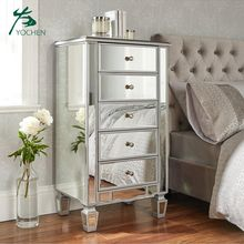 Modern bedside mirror cabinet nightstand silver mirror bedroom furniture