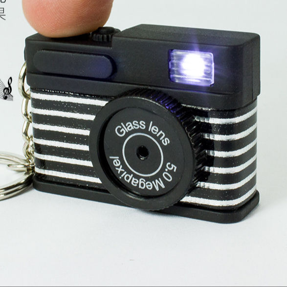 Wholesale Creative Camera Led Keychains Flashing keyring simulation camera sound light keychains