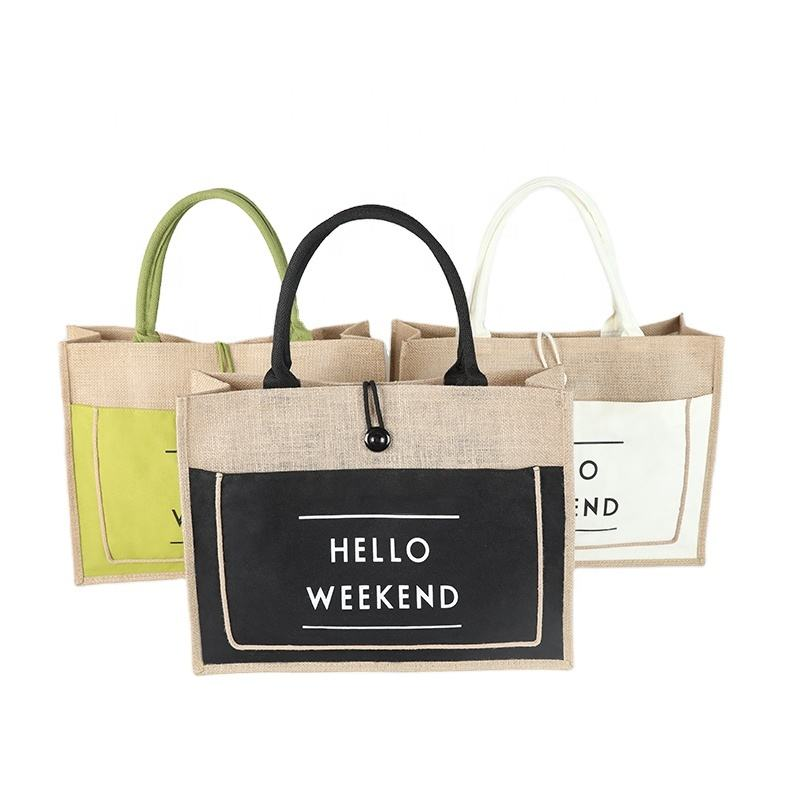 wholesale bamboo leather cotton canvas handle white jute tote bag