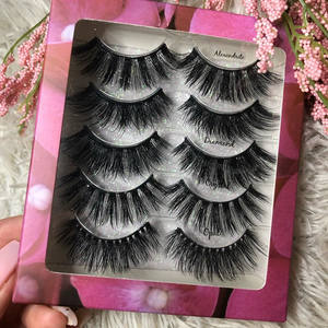 5 pairs mink lashes 3d wholesale mink eyelashes 25mm faux mink lashes multipack eyelash private label lash box